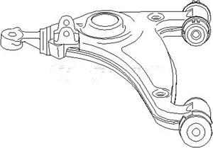 Bærearm, hjulophæng, Foraksel nede, Venstre