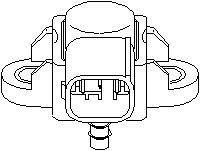 Sensor, laddtryck, Bakom kylaren, Luftfilterhus