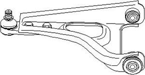 Bærearm, hjulophæng, Foraksel, Ydre, Venstre foraksel, Nede, Venstre