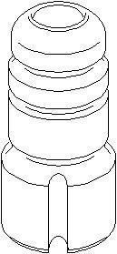Genomslagsgummi, stötdämpare, Fram, höger eller vänster