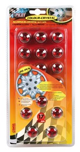 "SET 20 RED WHEEL NUT CAPS""CRYSTAL"" 17MM., Universal"