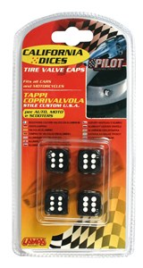 VALVE CAP DICE 4 PCS,BLACK+WHITE DOT, Universal