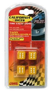 VALVE CAP DICE 4 PCS,YELLOW+BLACK DOT, Universal