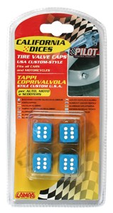 VALVE CAP DICE 4 PCS,BLUE+WHITE DOT, Universal