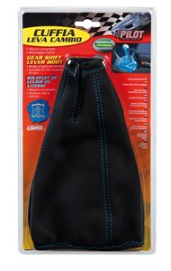 BLACK UNIV. GEAR LEATHER BOOT WITH BLUE SEWING, Universal