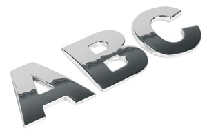 ADHESIVE CHROME 3D LETTER *A* T-3 28MM, Universal