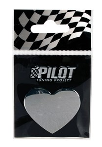 ADHESIVE CHROME 3D EMBLEM *HEART* T-3 28MM, Universal