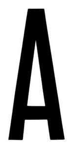 """T-6""BLACK ADHESIVE LETTER ""A"" 80 X 35 MM, Universal"
