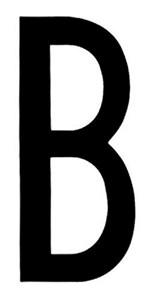 """T-6""BLACK ADHESIVE LETTER ""B"" 80 X 35 MM, Universal"