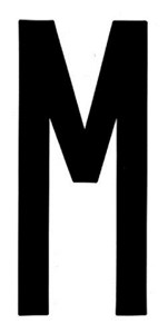 """T-6""BLACK ADHESIVE LETTER ""M"" 80 X 35 MM, Universal"