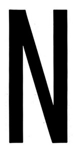 """T-6""BLACK ADHESIVE LETTER ""N"" 80 X 35 MM, Universal"