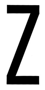 """T-6""BLACK ADHESIVE LETTER ""Z"" 80 X 35 MM, Universal"