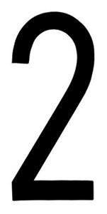 """T-6""BLACK ADHESIVE NUMBER ""2"" 80 X 35 MM, Universal"