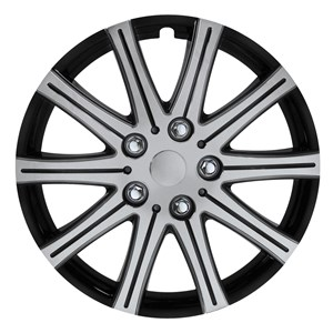"4PCS ABS WHEEL COVER 15"" C-124 TYPE BLACK POLISH SILVER, Universal"