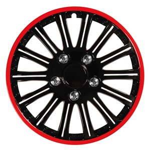 "4PCS ABS WHEEL COVER 13"" NESTED BLACK WITH RED TRIM, Universal"