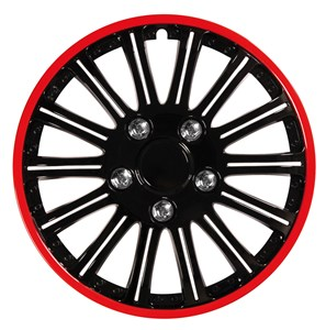 "4PCS ABS WHEEL COVER 16"" NESTED BLACK WITH RED TRIM, Universal"