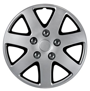 "4PCS ABS WHEEL COVER 13"" NESTED BLACK POLISH SILVER, Universal"