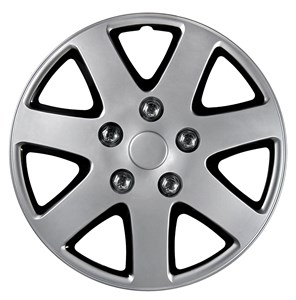 "4PCS ABS WHEEL COVER 15"" NESTED BLACK POLISH SILVER, Universal"