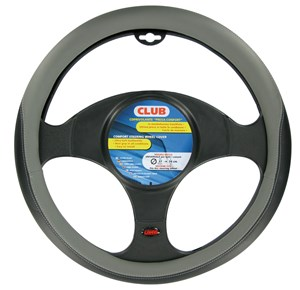 """CLUB"" STEERING WHEEL COVER BLACK + GREY, ""M"" 37-39CM, Universal"