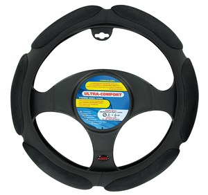 """ULTRA-COMFORT""STEERING WHEEL COVER BLACK, ""M"" 37-39CM, Universal"