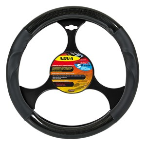"""NOVA"" STEERING WHEEL COVER BLACK+CARBON ""S"" 35-37, Universal"