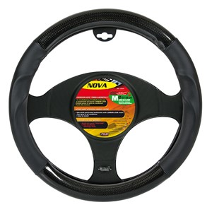 """NOVA"" STEERING WHEEL COVER BLACK+CARBON ""M"" 37-39, Universal"