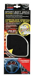"""SPORT SOFT DRIVE"" MICROFIBRE STEERING WHEEL COVER, BLACK, Universal"