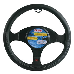 """CLUB"" STEERING WHEEL COVER BLACK + BLACK, ""S"" 35-37CM, Universal"