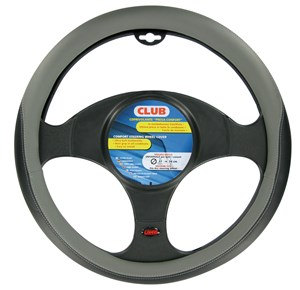 """CLUB"" STEERING WHEEL COVER BLACK + GREY, ""S"" 35-37CM, Universal"