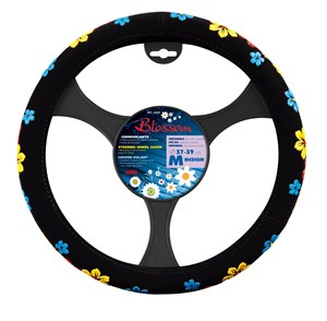 """BLOSSOM"" STEERING WHEEL COVER ASSORTED COLOURS ""M"" 37-39CM, Universal"