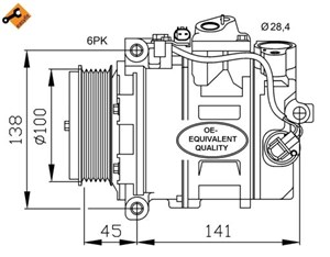 Kompressori, ilmastointilaite, Edessä, Takana