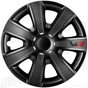 Hjulsidor/ Navkapslar, Wheel cover set 13-tommer, VR - Sort/Carbon-look/Logo