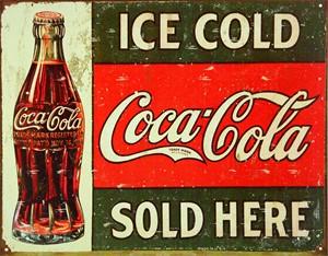 Bildel: Plåtskylt/CocaCola ice cold, s, Universal