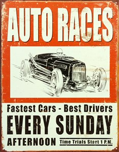 Plåtskylt/Auto Races, Universal