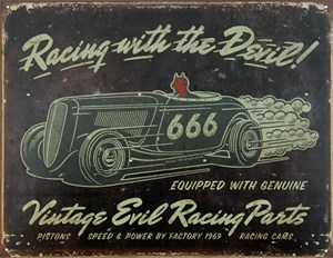 Plåtskylt/Vintage-Evil racing, Universal