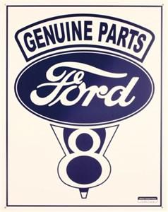 Plåtskylt/Ford Genuine V-8, Universal