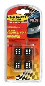 VALVE CAP DICE 4 PCS,BLACK+WHITE DOT, Universal