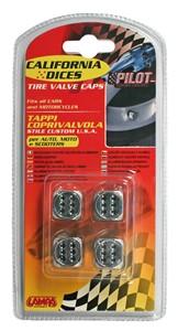 VALVE CAP DICE 4 PCS,CHROME+BLACK DOT, Universal