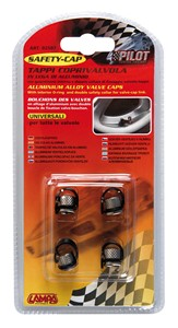 """TIRE VALVE CAPS WITH COLLAR""""SAFETY"""", Universal"""