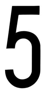 """T-6""BLACK ADHESIVE NUMBER ""5"" 80 X 35 MM, Universal"