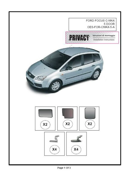 Privacy Custom Made Shades Ford C Max 5d 03 Universal