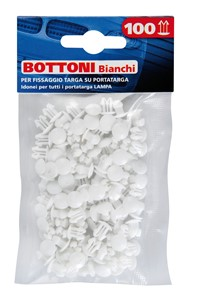 SET 100PCS FIXING BUTTONS FOR PLATE HOLDER, WHITE, Universal