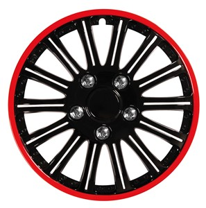 """4PCS ABS WHEEL COVER 16"""" NESTED BLACK WITH RED TRIM, Universal"""