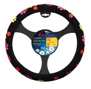 """""""BLOSSOM"""" STEERING WHEEL COVER ASSORTED COLOURS """"S"""" 35-37CM, Universal"""