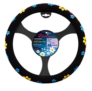 """""""BLOSSOM"""" STEERING WHEEL COVER ASSORTED COLOURS """"M"""" 37-39CM, Universal"""