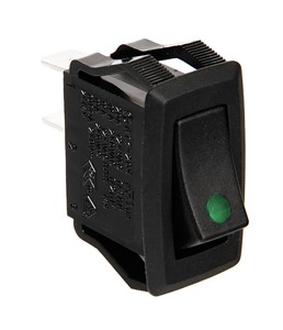 12/24V ROCKER SWITCH WITH GREEN LED, Universal