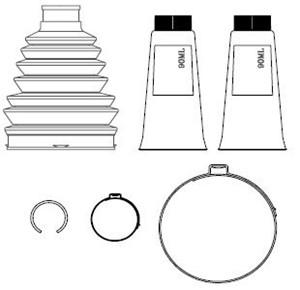Boot Kit, drive shaft, Front, Wheel side, Left front