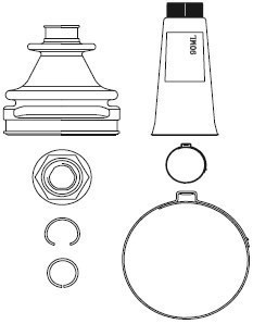 Boot Kit, drive shaft, Inner, Front axle left, Front axle right