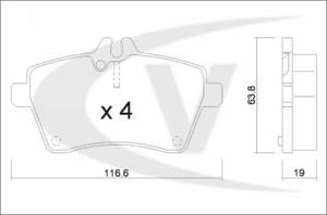 varaosat:Mercedes A 170 Jarrupalasarja, levyjarru, Edessä