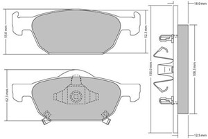 Brake Pad Set, disc brake, Front, Rear